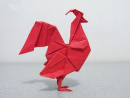 Origami Rooster by alejandro-delafuente