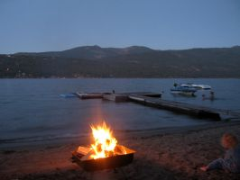 Lake with Fire and a Girl by paploothelearned