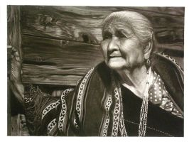 charcoal reveral - Hopi woman by unbadger