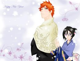 Ichigo and Rukia in New Year by Basylea