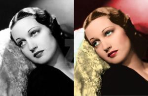 Dorothy Lamour before and after colorization by ThinkingKind