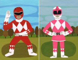 Red and Pink Ranger by Teagle