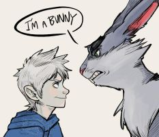 Jackfrost and bunnymund by assamj