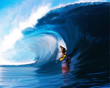 Surfing - photoshop painting by senarath