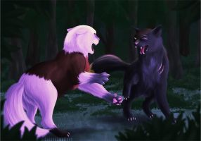 Dark Forest Fight by GoldenEmotions