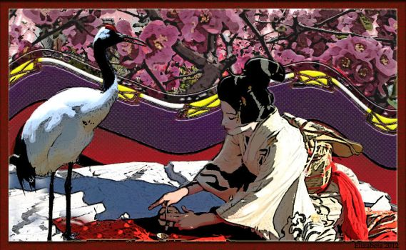 Princess serving tea to the red crowned crane. by Betka