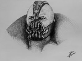Bane (Tom Hardy) : Ballpoint Pen Drawing by JakubQaazAdamski