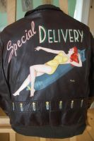 Special Delivery Pin-Up Flight Jacket Painting by  by Rockas-Jacket-Art