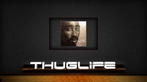 2pac Painting and Thug Life by curtisblade