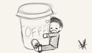 A man and his coffee by Hybrid00Art