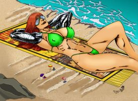 Giantess Cassie at the Beach by Jean Sinclair by THE-Darcsyde
