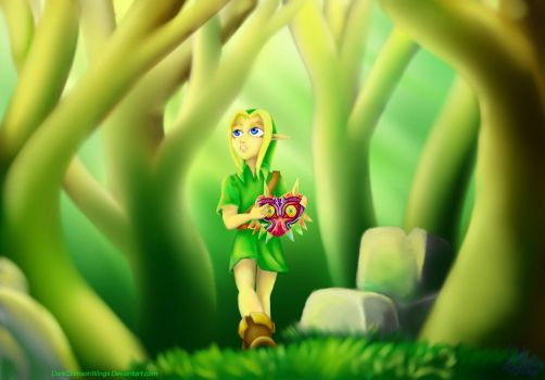 Majora's Mask: Young Link in the woods by DarkCrimsonWings