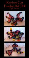 Colorful Cat Bat Posable Art Doll by Eviecats
