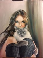 Portrait of girl and cat by marynamanni