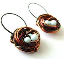 Bird Nest Earrings by sojourncuriosities