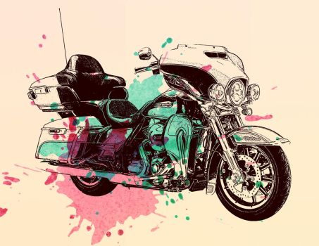 Harley Davidson motorcycle watercolour  by HenrikLee