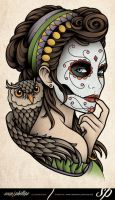 Dia de Muertos Owl Tattoo by Sam-Phillips-NZ