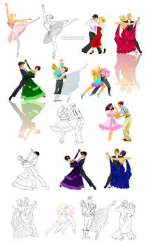 Dancing poses in Disney-like style by Precia-T