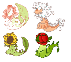More flower dino auctions - open- by OfficerMittens