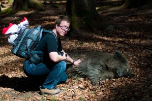 Me and wild-boar by Yupa