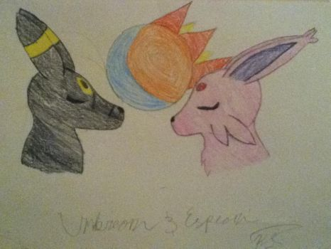 Umbreon and Espeon by cryptidgirl13