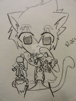 Sora kitty and Mice by beautifullyxbroken13