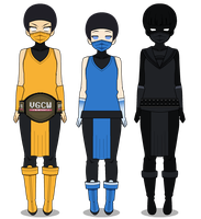 Scorpion, Sub-Zero and Noob Saibot by WraithHtes