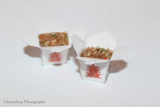 Shrimp Fried Rice Chinese Takeout Box Earrings by CharmStop