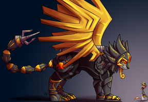 Of Old and New - AncientSphinxmon and Geopardmon by aki-ta