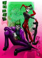 joker and harley, the jokers card by tuljin