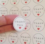 Thank You Heart Round Stickers by anniscrafts