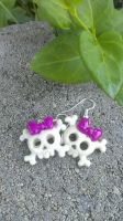 Purple And White Skull Earrings by Rini-Dragoone