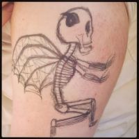 Skellington tattoo on a friends arm by VioletBells