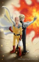 One Punch Man: sensei and student by bluerosefantasy