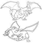Free Charizard and Flygon linearts by Twarda8