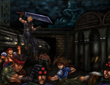 FF7 - Cloud and Avalanche Take Out Shinra Soldiers by SoulStryder210