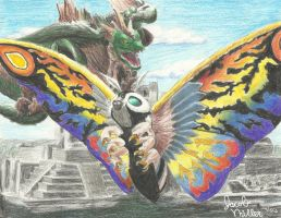 Mothra and Dagahra by pink12301