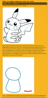 How to draw Pikachu Pokemon step by step by HowToDrawManga3D