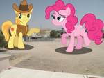 Pinkie Pie and Braeburn....IN MY NEIGHBORHOOD!!:D by Lt-Colonel-Sharpy