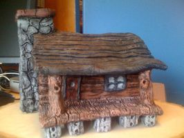 Ceramic log cabin by prismacolorjessie