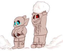 Undertale - Littleswap n Littlefell sketch by RestingJudge