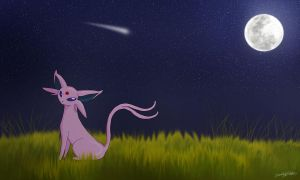 Espeon in the Moonlight by Emmski