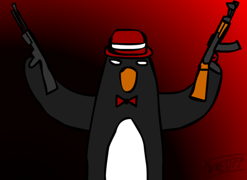 Penguin with a Tophat, Necktie, AK-47, Autoshotgun by Pwned77