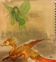More fantasy ideas (Phoenix and leaf fairy) by TheSilentArtist2225