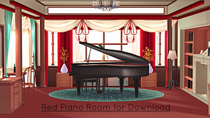 Red Piano Room Stage for MMD Download by swiftcat-mooshi