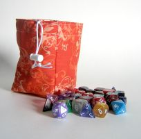 Orange Flourish Dice Bag by mousch