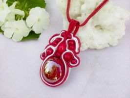 Soutache pendant with red glass by Mirtus63