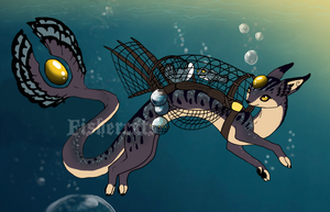 PleasantPastel's Deep Sea Fishercat by oceanicfishercats