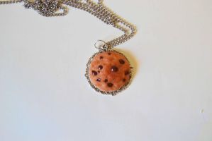 Chocolate chip cookie Necklace by TheDarkLittleBunnY