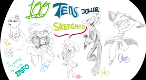 100 10 dollar sketches by elixirXsczjX13